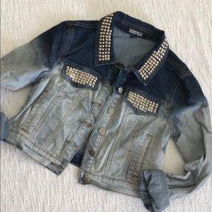 Ombré studded denim jacket